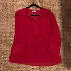 Joie Red Blouse with tie collar